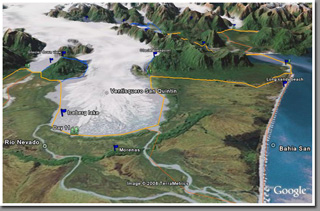 GoogleEarth screenshot of San Quintin Glacier, Istmo Ofqui, Northern Patagonian Icefield, Patagonia, Chile