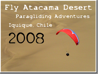 Cross country paragliding near Punta Batuco, Iquique, Chile
