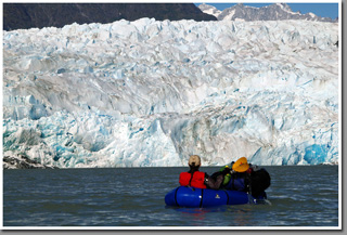 Packrafting in Patagonia, Glacier Gualas, Northern Patagonian Icefield, Patagonia, Aysen, Chile