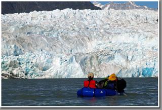 Packrafting in Patagonia, Glacier Gualas, Northern Patagonian Icefield, Patagonia, Aysen, Chile