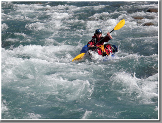 Packrafting trough rapids of Jeinimeni river, Aysen, Patagonia, Chile