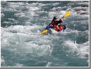 Packrafting trough rapids of Jeinimeni river, Aysen, Patagonia, Chile