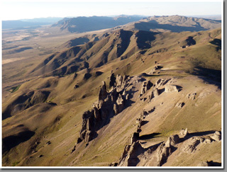 Aerial view of easternmost Andean ranges near El Maiten and Cushamen, Patagonia, Argentina