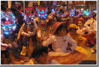 Dancers during religious feast of Fiesta de La Tirana, La Tirana, Chile