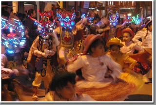 Dancers during religious feast of Fiesta de La Tirana, La Tirana, Chile