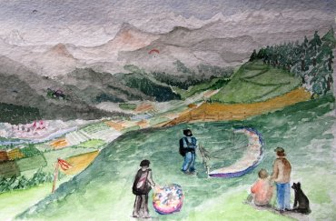 Not only flying - Josefina Menendez's watercolors Paragliding in the Alps, June 2015, South Tyrol, Italy