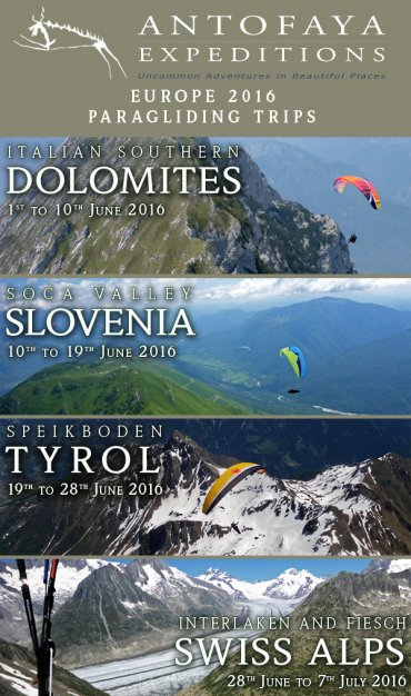Europe 2016 Paragliding Trips - Antofaya Expeditions' European paragliding trip schedule 2016
