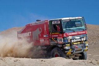 The legend continues? - An off-road racing truck crossing the coastal mountain range at Pampa Perdiz during Dakar 2012 rally, Iquique, The Atacama Desert, Chile.