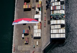 Docking Station - Aerial paragliding tour of Iquique port, the Atacama Desert, Chile