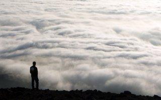 Arenal - Cloud covered Cuesta de Arenal plateau and Tiliviche Canyon near Pisagua, The Atacama Desert, Chile