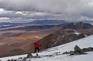 Antofalla, cheers! - Approaching the snow line while climbing North-westerns slopes of volcano Antofalla, Puna de Atacama, Andes, Argentina