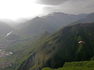 European XC season is open! - Flying over Kobala looking West toward Kobarid and Italy, Soca Valley, Julian Alps, Slovenia