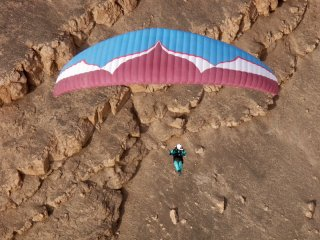 Desert longing - Paragliding cliffs of Tiliviche canyon 200km north of Iquique, The Atacama Desert, Chile