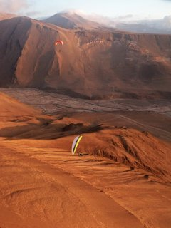 Tiliviche - Paragliding at the mouth of Tiliviche canyon, The Atacama Desert, Chile