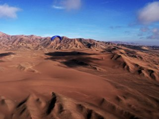 Evening Session - Paragliding over the Desert Plateau south of Iquique, The Chilean Coastal Range, The Atacama Desert, Chile